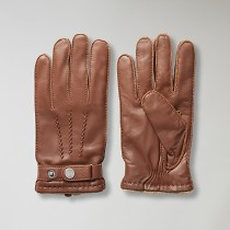 Strap leather gloves light brown