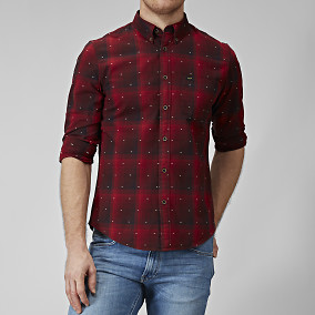 BUTTON DOWN DARK RED PAITA