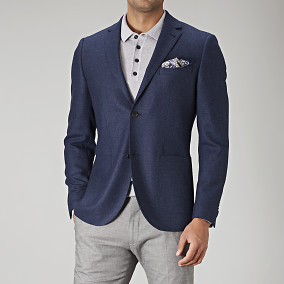 Shelby slim fit tweed blazer - blå | Riley | Brothers.se