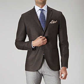 Brun slim fit tweedblazer | Riley | Brothers.se