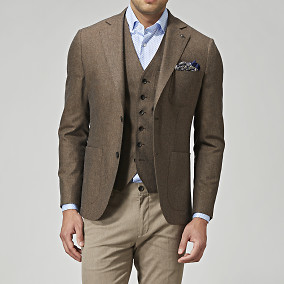 Blazer Sutton Flannel - Brun | The Tailoring Club | Brothers.se