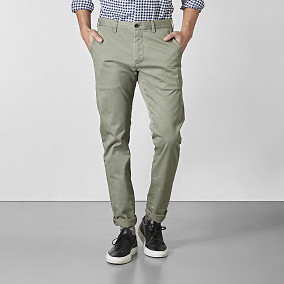 Slim fit chinos - Bowery grön  | East West | Brothers.se