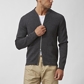 Tate Zip Cardigan Grå | East West | Brothers.se