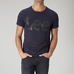 Midnattsblå t-shirt med logoprint | Lee | Brothers.se